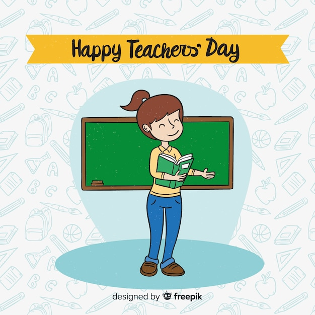 Lovely hand drawn world teachers\' day\ composition