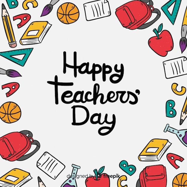 Lovely hand drawn world teachers' day composition Free Vector