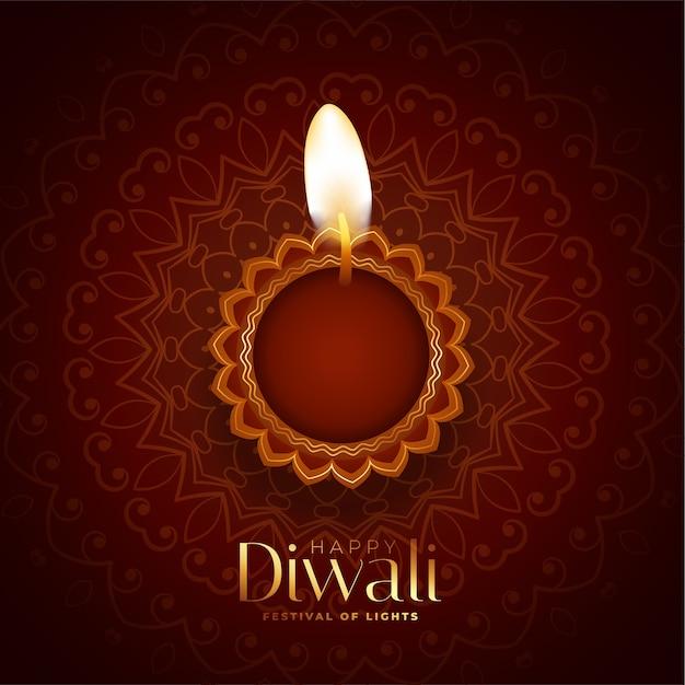 Sfondo di diwali felice incantevole con diya realistico Vettore gratuito