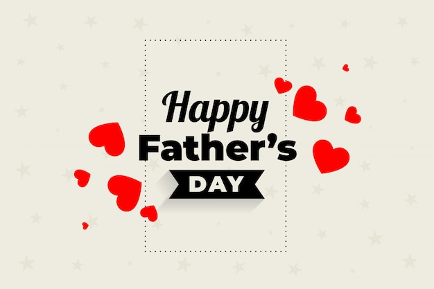 Lovely happy fathers day hearts design Free Vector