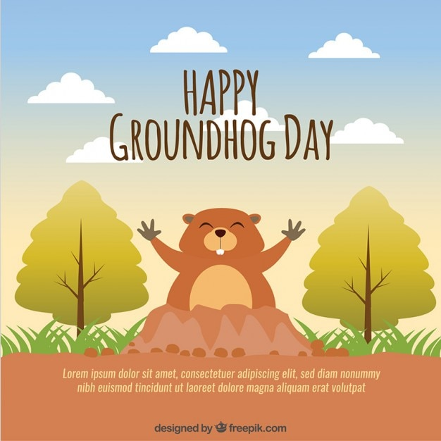 Lovely happy groundhog day background Free Vector