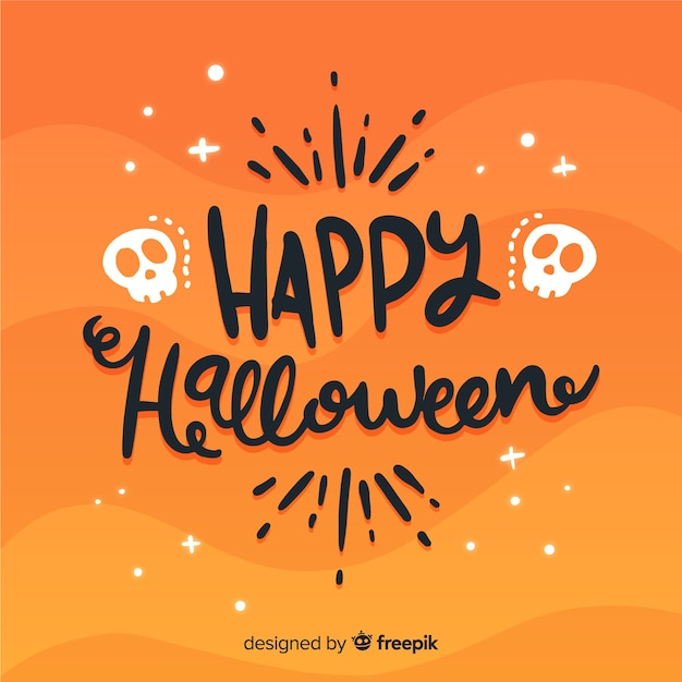 Lovely happy halloween lettering background Free Vector