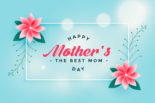 Lovely happy mother's day flower greeting Free Vector