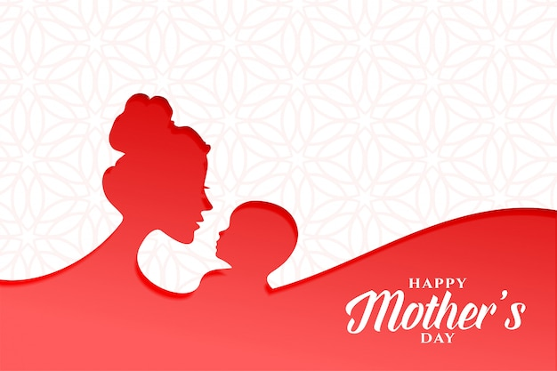 Lovely happy mothers day card with mom and baby Free Vector