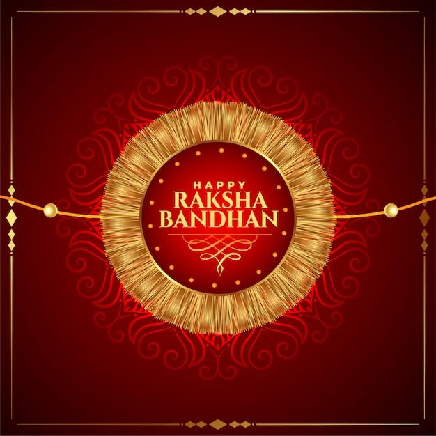 Lovely happy raksha bandhan golden rakhi background Free Vector