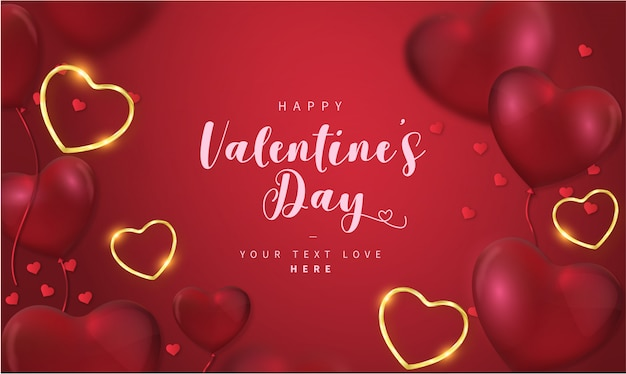 Lovely Happy Valentine S Day Background With Hearts Free Vector