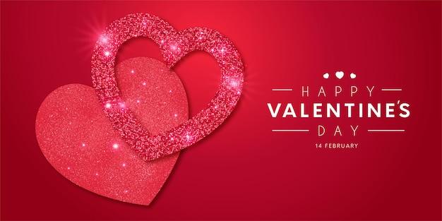 Прекрасная рамка с днем святого валентина с реалистичным сердечком и блестящим шаблоном Бесплатные векторы