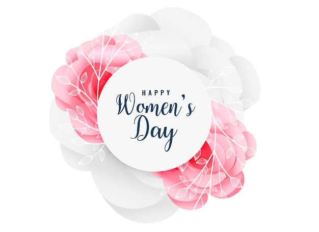 Lovely happy women's day flower background Free Vector