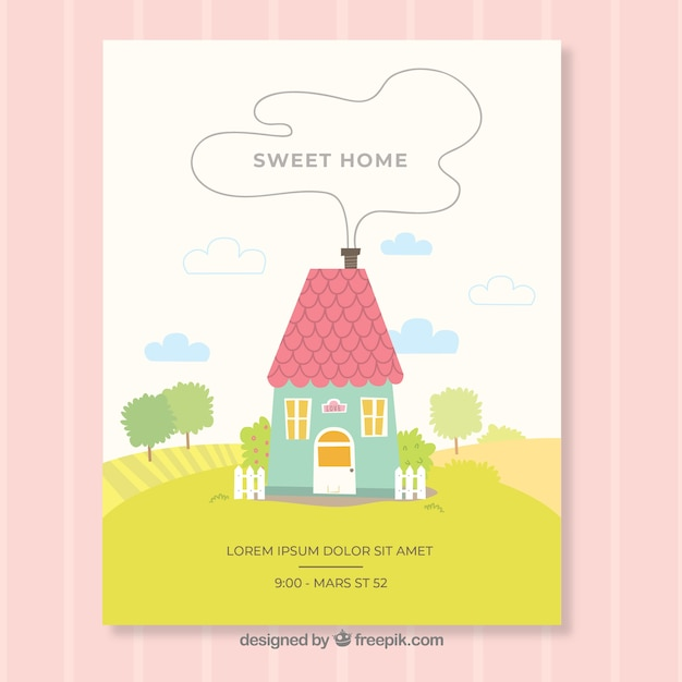 Lovely home compostion Free Vector