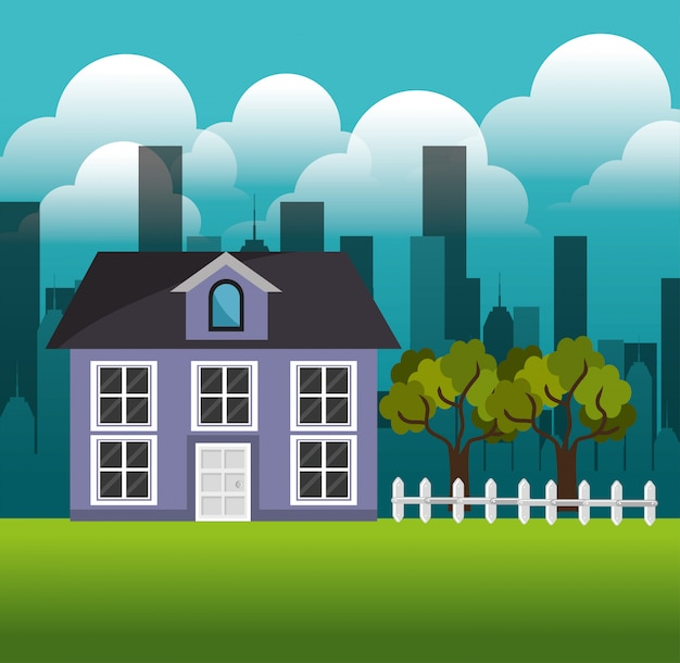 Lovely house family suburb landscape Free Vector