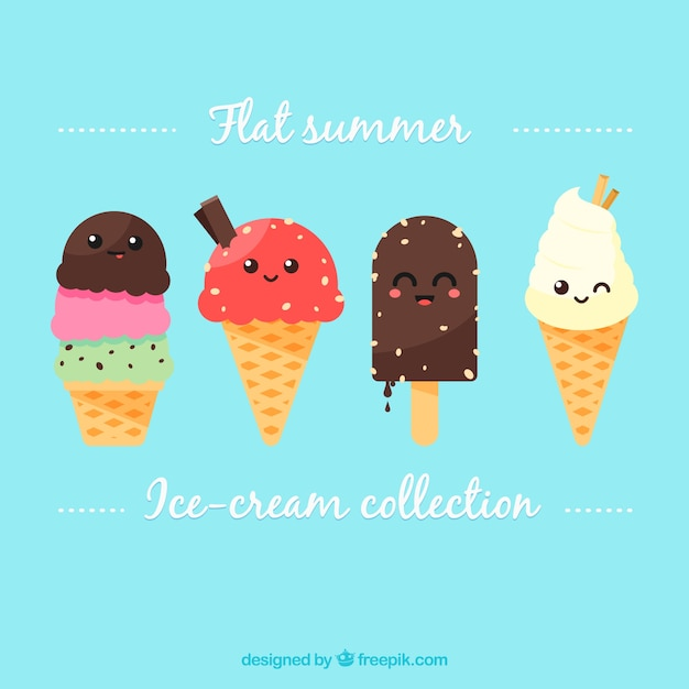 Lovely ice-cream characters set Free Vector