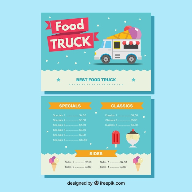 Lovely ice cream truck menu template Vector | Free Download