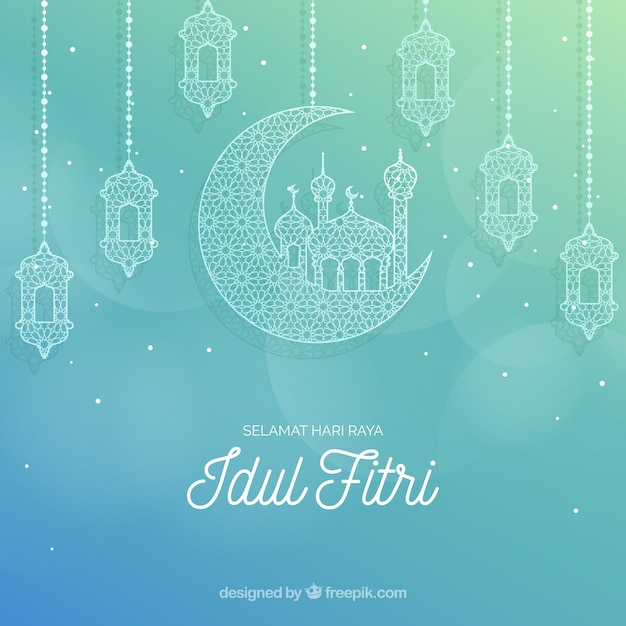 Selamat Hari Raya Idul Fitri: Lovely Idul Fitri Background With Flat Design