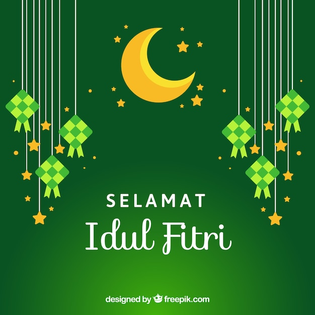 Lovely Idul Fitri Background With Flat Design