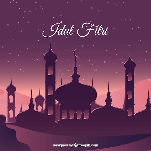 Lovely Idul Fitri Background With Flat Design Vector