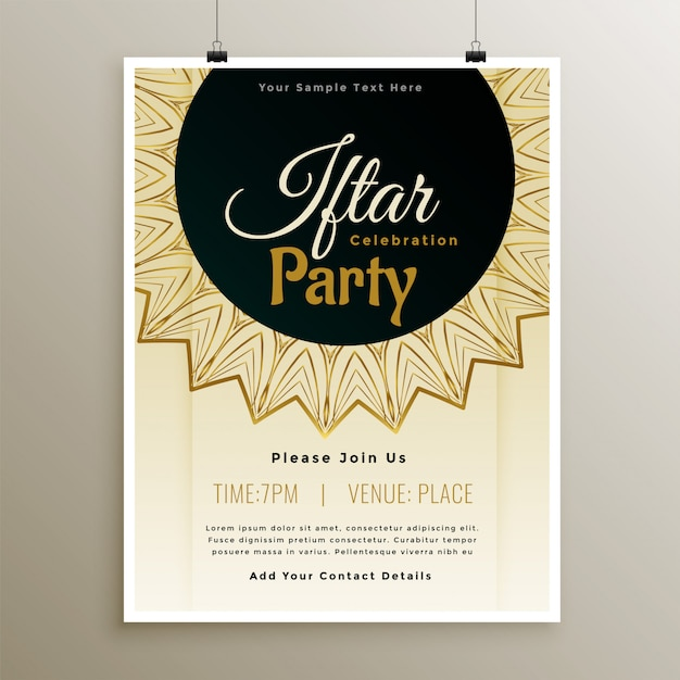 Lovely iftar party celebration template design Free Vector