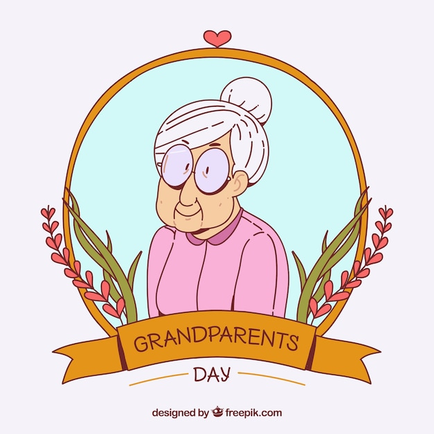 Lovely illustration of hand drawn granny Free Vector