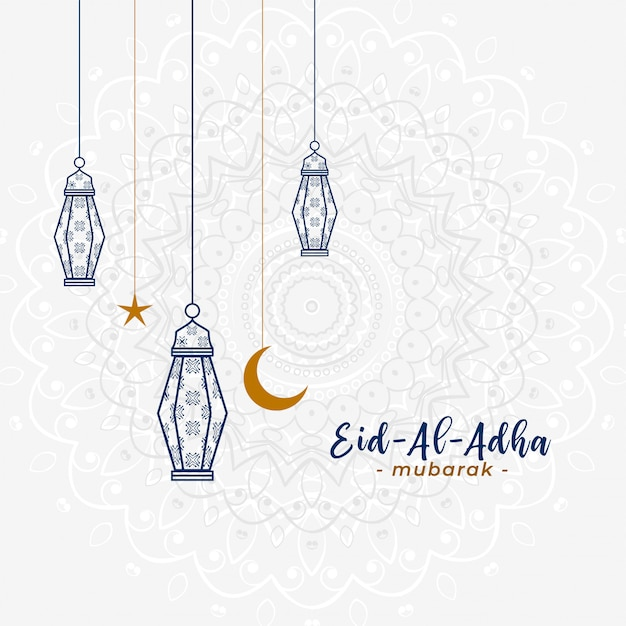 Lovely islamic eid al adha greeting with hanging lamps Free Vector
