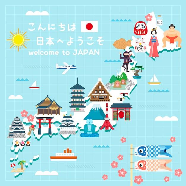 Прекрасная карта путешествий по японии привет и добро пожаловать в японию на японском языке Premium векторы