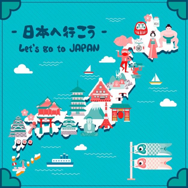 Прекрасная карта путешествий по японии. поехали в японию на японском языке. Premium векторы