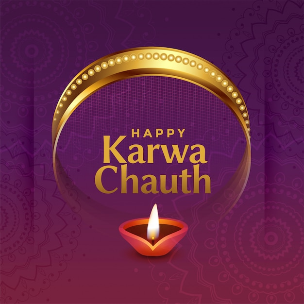 Lovely karwa chauth indian festival greeting with decorative elements Free Vector