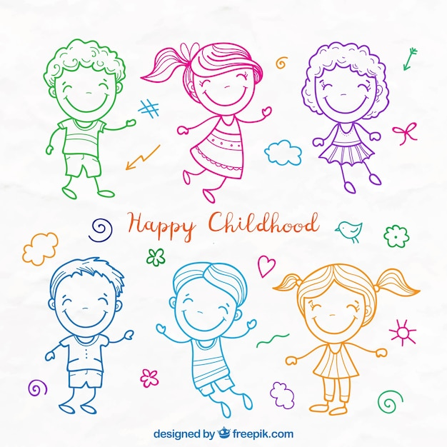 Lovely kids colored sketches set Free Vector