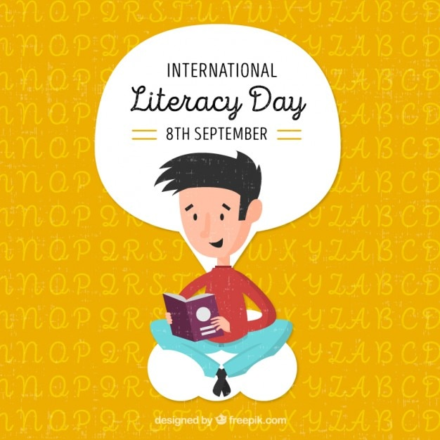 Lovely literacy day background with boy reading a book Free Vector