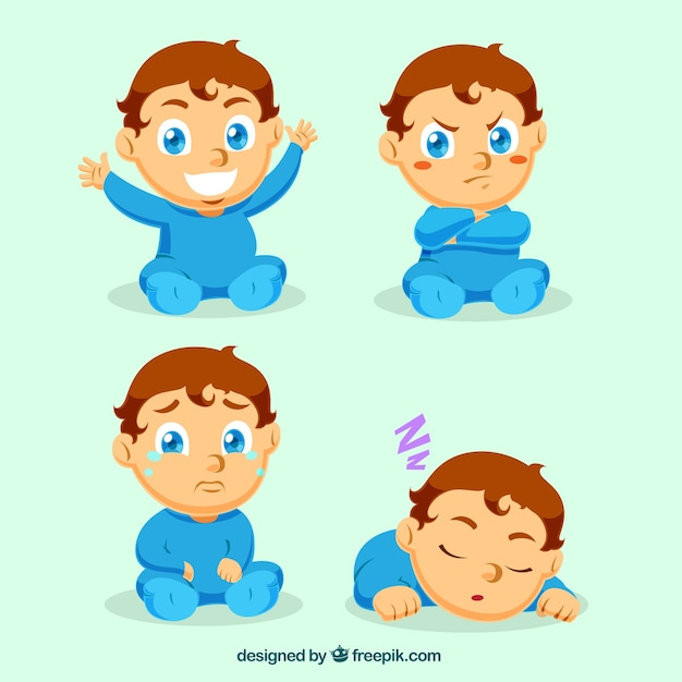 Lovely little boy with different expressions | Free Vector