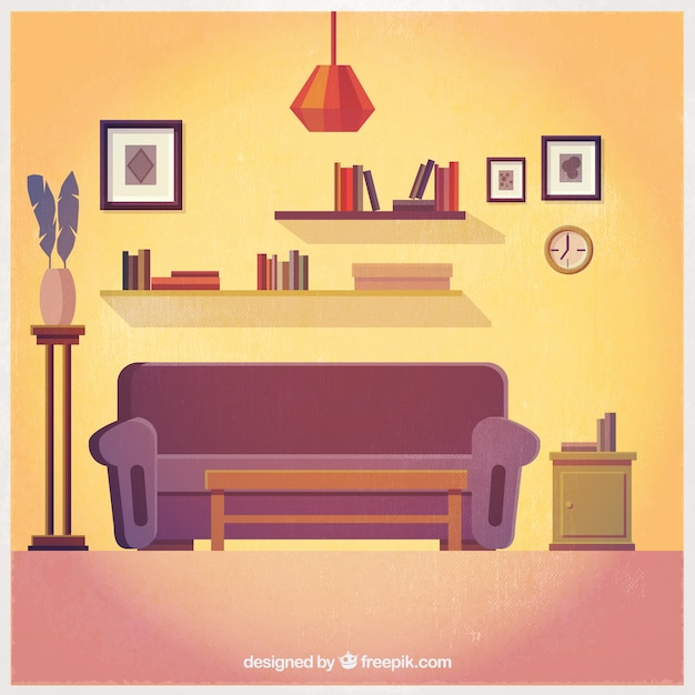 Lovely living room interior vector free download for Room design vector