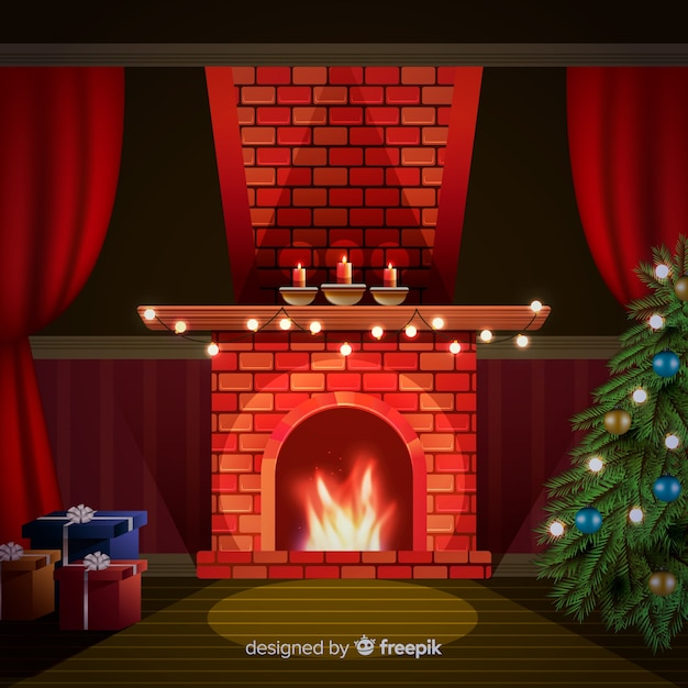 Lovely living room with christmas decoration Free Vector
