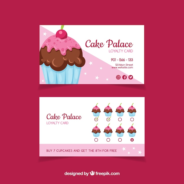 Lovely loyalty card template with cupcake Free Vector