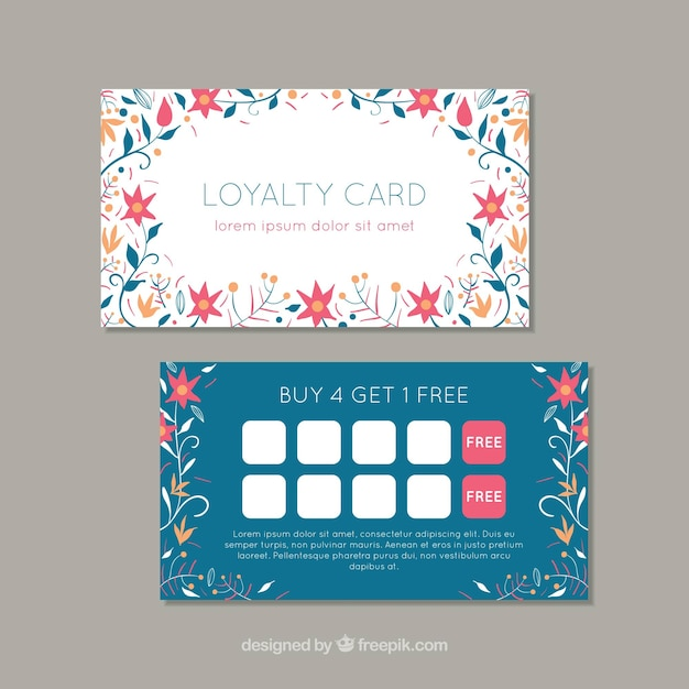 lovely loyalty card template with floral style vector free download