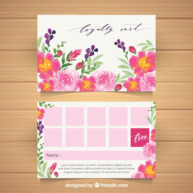 Lovely loyalty card template with floral style Free Vector