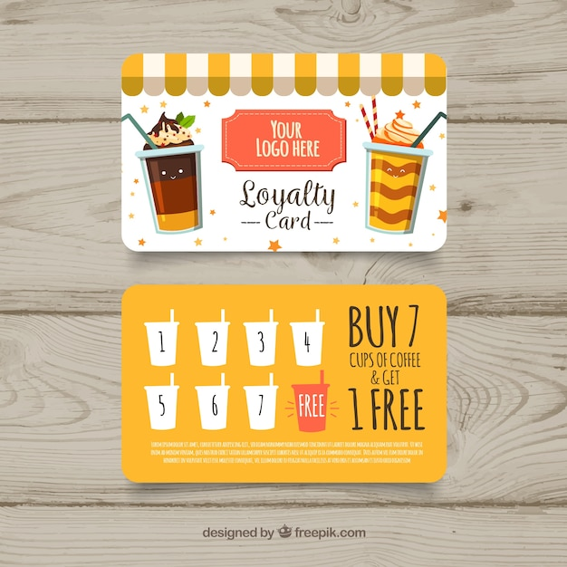 Lovely loyalty card template with milkshakes Free Vector