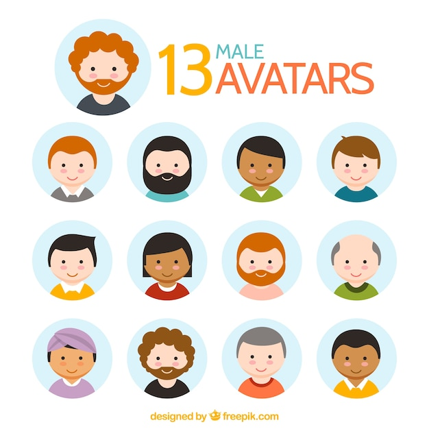 Lovely male avatar collection Free Vector
