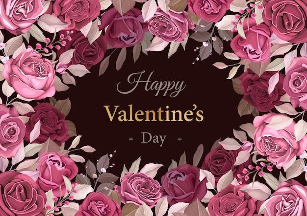 Прекрасный темно-бордовый шаблон на день святого валентина Бесплатные векторы
