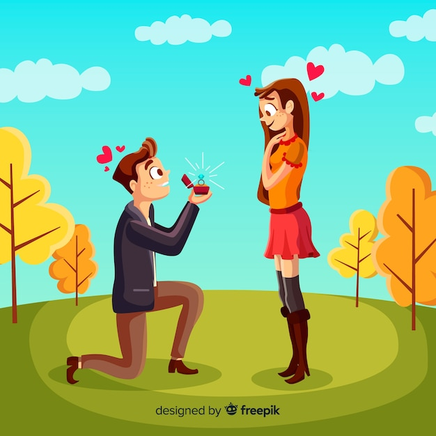Lovely marriage proposal composition with flat design Free Vector