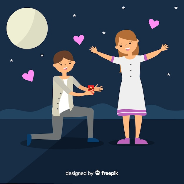 Lovely marriage proposal composition with flat design Vector | Free