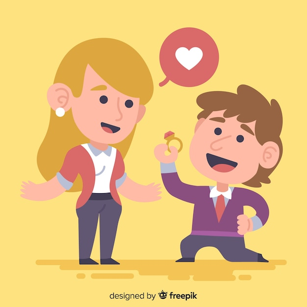 Lovely marriage proposal with cartoon style Free Vector