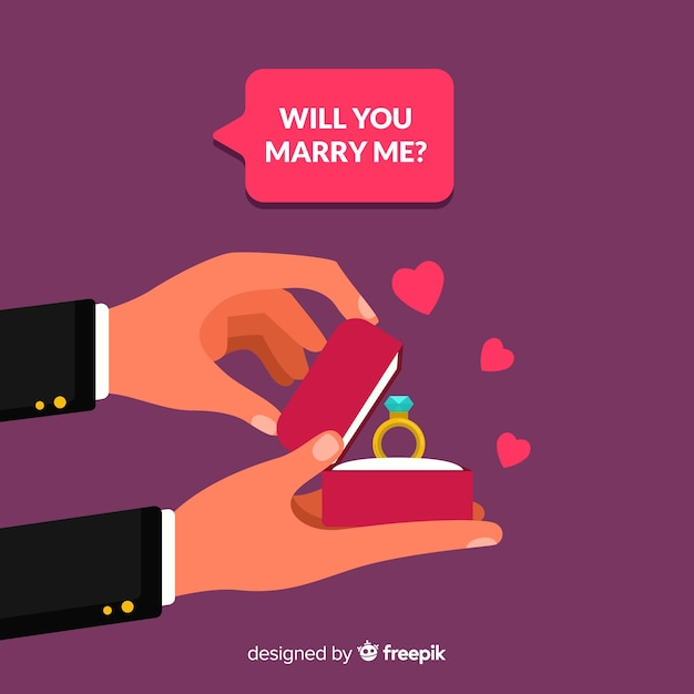 Lovely marriage proposal with flat design Free Vector