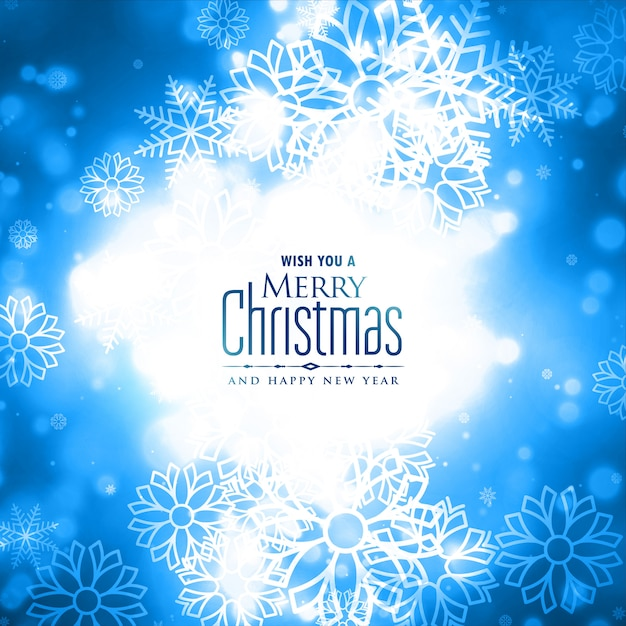 Lovely merry christmas winter snowflakes glowing card design Free Vector