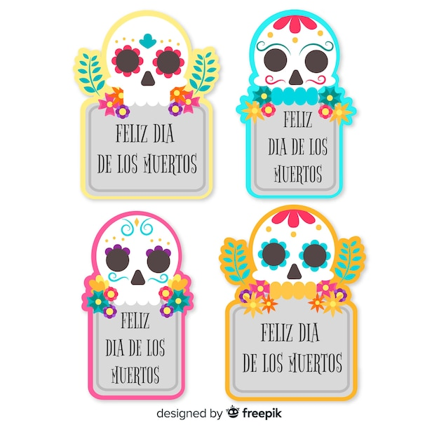 Lovely mexican festivity badge collection with flat design Free Vector