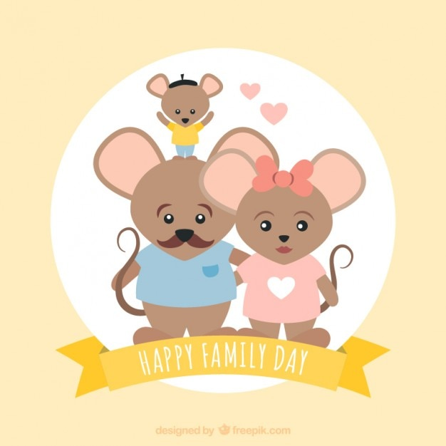 Lovely mice family card