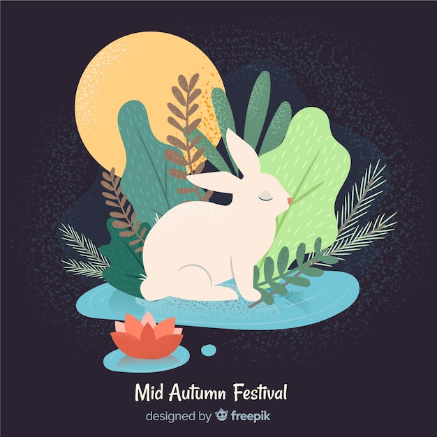 Lovely mid autumn festival background Free Vector