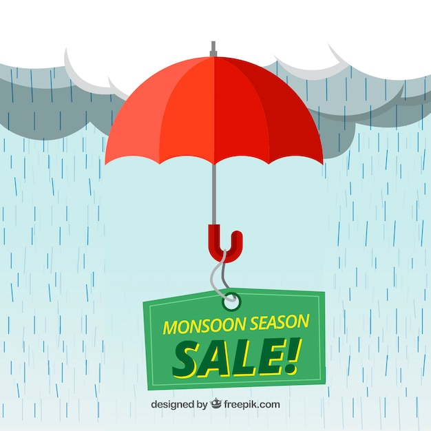 Lovely monsoon sale composition with flat design Free Vector