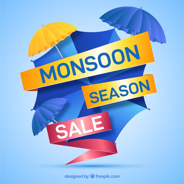 Lovely monsoon sale composition with realistic design Free Vector