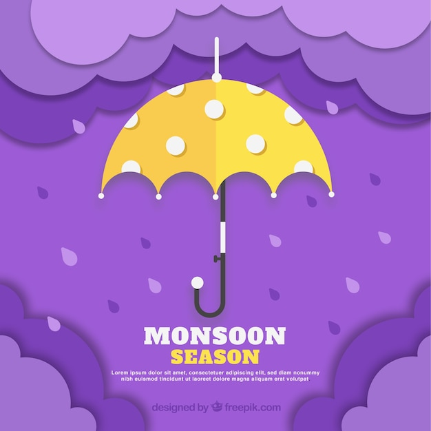 Lovely monsoon season composition with flat\ design