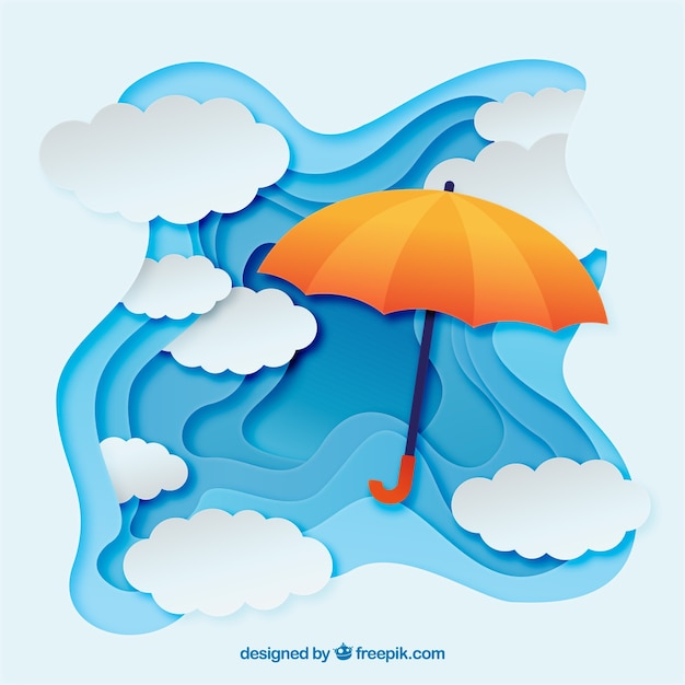 Lovely monsoon season composition with flat design Free Vector