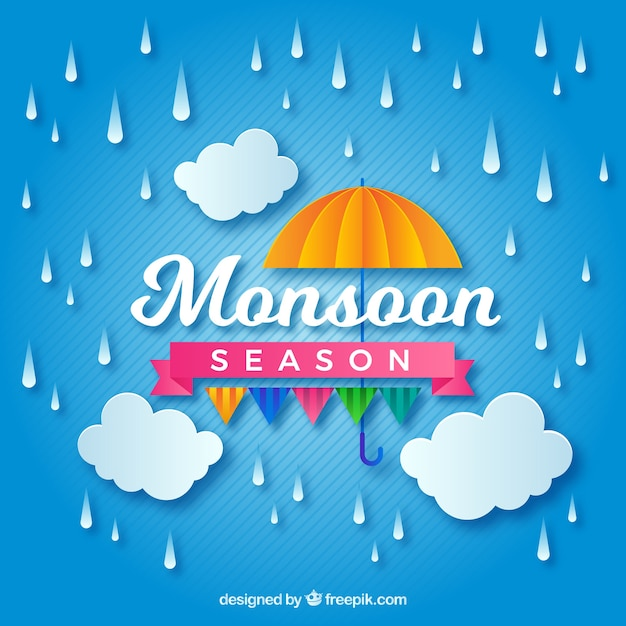 Lovely monsoon season composition with orgami style Free Vector