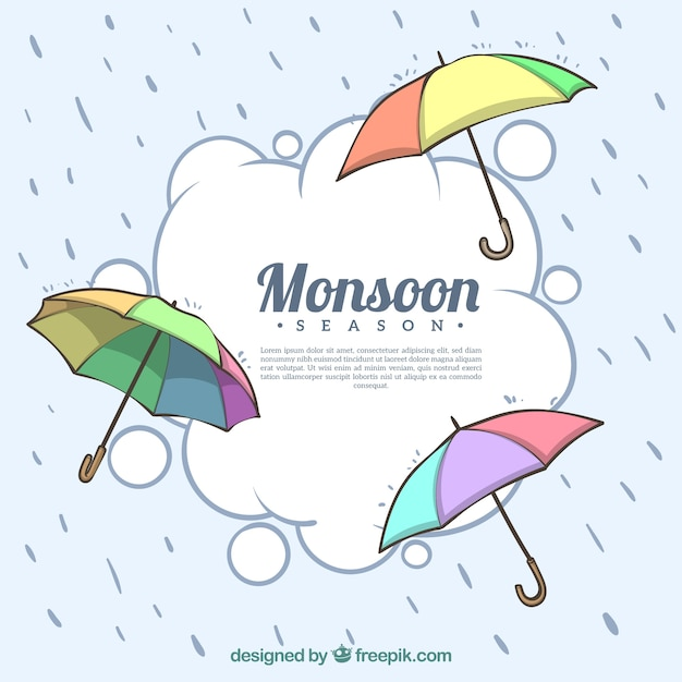 Lovely monsoon season composition with\ umbrella